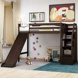 Twin Loft Bed with Slide Wood High Loft Bed with Storage and Staircase Storage Bed Frame for Living Room Bedroom,Guest Room, Espresso Loft Bed