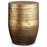 Johnsen Boho 15 inch Wide Metal Large Accent Side Table in Antique Gold, Fully Assembled - Simpli Home AXCMTBL03LG-AG