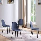IDS Home Mid Century Style, Fabric Upholstered Seat with Black Metal Legs Armless Set of 4 Dining Room Side Chairs for Kitchen, 17.3 x 20.8 x 34.2 inch, Navy Blue