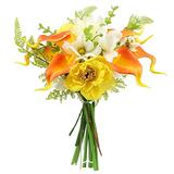 Rinlong Real Touch Calla Lily Artificial Orange Silk Calla Lily Flower Bouquet for Wedding Bouquet for Bride Bridal Dining Table Bathroom Counter Table Centerpiece
