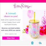 Lilly Pulitzer Kitchen   Lilly Pulitzer Printed Tumbler Nib   Color: Gold/Pink   Size: 12 Oz