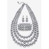 Plus Size Women's Silver Tone Necklace Set by PalmBeach Jewelry in White