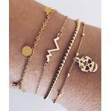 Golden NYC Women's Bracelets 18K - Goldtone Skull & Heartbeat Bracelet Set