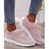 PAOTMBU Women's Sneakers pink - Pink Knit Lace-Up Sneaker - Women