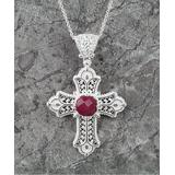Ottoman Silver Collection Women's Necklaces - Ruby & Sterling Silver Filigree Cross Pendant Necklace