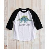 Personalized Planet Tee Shirts - Black & White Stegosaurus Personalized Raglan Tee - Kids