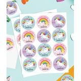 Personalized Planet Multi - Unicorns & Rainbow Friends Personalized Name Gift Stickers - Set of 48