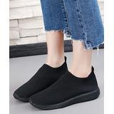 PAOTMBU Women's Sneakers black - Black Knit Slip-On Sneaker - Women