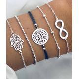 Don't AsK Women's Bracelets Silver - Black & Silvertone Hamsa & Infinity Charm Bracelet Set