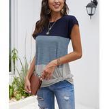 Coeur de Vague Women's Tee Shirts Blue - Blue & Gray Color Block Twist-Hem Tee - Women