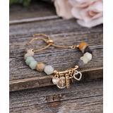 Willowbird Women's Bracelets Yellow - Lab-Created Amazonite & Crystal 'Faith' Beaded Charm Bracelet
