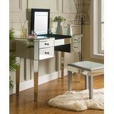 Inspired Home Vanity No - Mirrored Demetria Flip-Top LED Light-Up Vanity Table