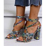 PAOTMBU Women's Pumps SNAKE - Black Snake Ankle-Strap Block-Heel Sandal - Women