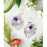 Katherine Winters Women's Earrings SILVER - Amethyst & Sterling Silver Lotus Leaf Drop Earrings