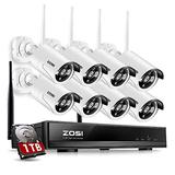 ZOSI 8CH Wireless Security Cameras System Outdoor with 1TB Hard Drive,8CH 960P HD Network IP NVR and 8pcs 960P HD Wireless Weatherproof IP Surveillance Cameras with Night Vision,Remote Access