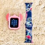 Disney Accessories   38mm Disney Stitch Apple Watch Bandbumper Combo   Color: Pink   Size: 38mm Sm
