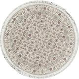 Bokara Rug Co, Inc. Round Oriental Hand-Knotted Wool Beige/Ivory Area RugWool in White, Size 48.0 H x 48.0 W x 0.25 D in | Wayfair 423447