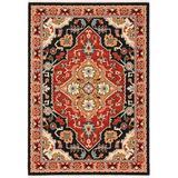 Solo Rugs Vince Oriental Red/Black/Beige Area Rug Nylon/Wool in Black/Red/White, Size 132.0 H x 96.0 W x 0.31 D in | Wayfair W0014-8x11-S1534929AZ