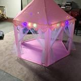 SKYFIREEA 55.1' x 55.1' Indoor/Outdoor Polyester Pop-Up Play Tent Nylon in Green/Pink, Size 53.1 H x 55.1 W x 55.1 D in   Wayfair