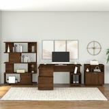 Kathy Ireland Home by Bush Furniture Madison Avenue Desk Bookcase and Filing Cabinet Set Wood in Brown/Green | Wayfair MDS008MW