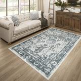 World Menagerie Samatha Oriental Tufted Navy Area RugPolyester in Blue/Brown/Navy, Size 144.0 H x 108.0 W x 0.41 D in   Wayfair