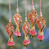 The Holiday Aisle® Hand-Crafted Hand Beaded Christmas Holiday Shaped Ornament Set of 5Fabric in Pink/Yellow, Size 3.9 H x 1.6 W x 1.0 D in   Wayfair