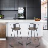 Williston Forge Johannsen Swivel Counter & Bar Stool Wood/Metal in Black/Yellow, Size 31.0 H x 19.5 W x 15.4 D in | Wayfair