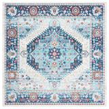 Bungalow Rose Kahlo Oriental Ivory/Area Rug Polypropylene in Blue, Size 79.0 H x 79.0 W x 0.39 D in | Wayfair 2213656957484DD384FBCC12B8537CF7