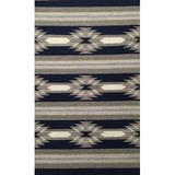 Union Rustic Etta Handwoven Wool Gray/Ivory/Blue Rug Wool in Blue/Gray/White, Size 90.0 H x 60.0 W x 0.25 D in | Wayfair