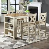 Rosalind Wheeler Seery 5 - Piece Counter Height Dining Set Wood/Upholstered Chairs in White/Brown, Size 36.25 H x 30.0 W x 47.5 D in   Wayfair