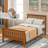 Red Barrel Studio® Yaeger Twin Solid Wood Platform Bed Wood in Brown, Size 42.9 W x 80.2 D in | Wayfair C3294C9F7F7841A98D7ADB32A1DE976D
