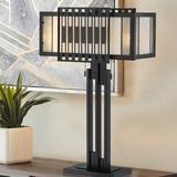 "Latitude Run® Archange 24.5"" Black Table Lamp Glass/Metal in Black/White, Size 24.5 H x 16.0 W x 6.5 D in | Wayfair"