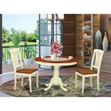 Alcott Hill® Maffra 3 Piece Rubber Solid Wood Dining Set Wood in Brown/Red/White, Size 29.5 H x 42.0 W x 42.0 D in | Wayfair