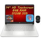 Flagship 2021 HP 14 Laptop Computer 14'' HD Touchscreen Display AMD Ryzen 3 3250U (Beats i7-7600U) 8GB RAM 512GB SSD AMD Radeon Vega 3 USB-C WiFi 6 HDMI HD Webcam Win 10 + iCarp Wireless Mouse