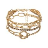 Streetregion Women's Bracelets White - Cubic Ziconia & 18k Gold-Plated Figaro Tennis Bracelet Set