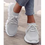 PAOTMBU Women's Sneakers gray - Gray Knit Lace-Up Sneaker - Women