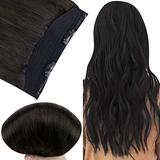 Fshine Invisible Hair Extensions Human Hair Clip in Crown Hairpieces Black 80G Headband Human Hair Straight 18Inch Natural Hair Extensions Human Hair Fish Line Layered Wire Hair Extensions for Women
