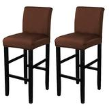 WOMACO Counter Height Chair Stool Covers Stretch Barstools Slipcover Protector for Cafe Furniture Chair Seat Cover (2 Pack, Coffee)