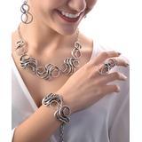 YUSHI Women's Bracelets ANTIQUE - Antiqued Silvertone Loops Jewelry Set