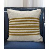 LR Home Throw Pillows White/Mustard - White & Mustard Stripe Throw Pillow