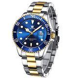 Mens Watches Gold Blue Band Waterproof Date Analog Quartz Watch Luxury Casual Fashion Wrist Watches for Men,Pro Diver Watch Two Tone Watch,Dress Big Face Men Watch,OLEVS Men Watches