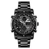 Men's Digital Watch Military Sports Watches Tactical Waterproof Stopwatch Outdoor Analog Watch Alarm Dual Time LED Business Watch Black Silver