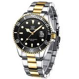 Mens Watches Big Face Stainless Steel Waterproof Date Analog Quartz Watch Business Casual Fashion Wrist Watches for Men Pro Diver Two Tone Men Black Wristwatch,,Silver Gold Band Black Dial Men Watches