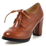 CYNLLIO Oxfords Shoes for Women Vintage Perforated Brogues Shoes Comfortable Chunky Heels Lace up Wingtip Pumps Yellow