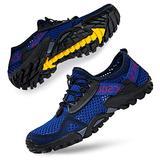 SOBASO Men's Water Shoes Women Barefoot Aqua Water Shoes Quick Dry Swim Shoes for Beach River Lake Sailing Navy Black