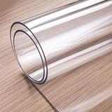 OstepDecor Custom 2mm Thick 54 x 38 Inch Clear Table Covers, Table Protector for Dining Room Table, Clear Table Cloth Cover Protector, Plastic Table Cloth Pad for Kitchen Wood Grain