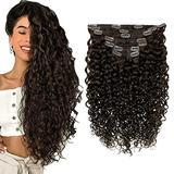 RUNATURE Natural Hair Clip Extensions 14inch Natural Hair Extensions 100g 7 PCS Color 2 Darkest Brown Remy Hair Extensions Clip in Real Hair Extensions Clip in Human Hair