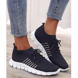 PAOTMBU Women's Sneakers black - Black Knit Lace-Up Sneaker - Women