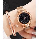 Don't AsK Women's Bracelets Gold - Black & Rose Goldtone Bezeled-Edge Sparkle Watch & Star Bracelet