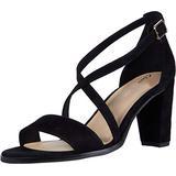 Clarks Women's Kaylin 85 Strap Heeled Sandal, Black Suede, 8.5